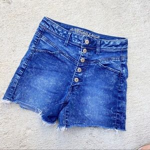 American eagle button fly hi -rise blue shorts 2